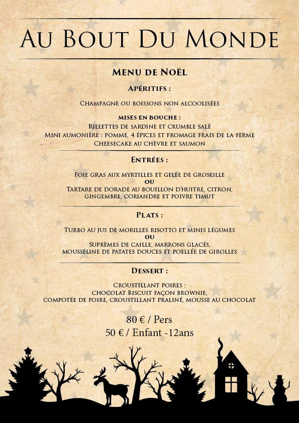 Menu Reveillon De Noel.Diner De Noel 2018 Au Bout Du Monde Au Bout Du Monde